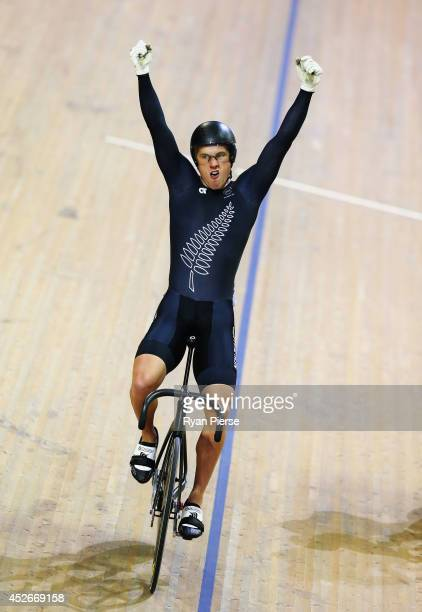 Sam Webster of New Zealand celebrates winning Gold in the Men's Sprit Final at Sir Chris Hoy Velodrome during day two of the Glasgow 2014...