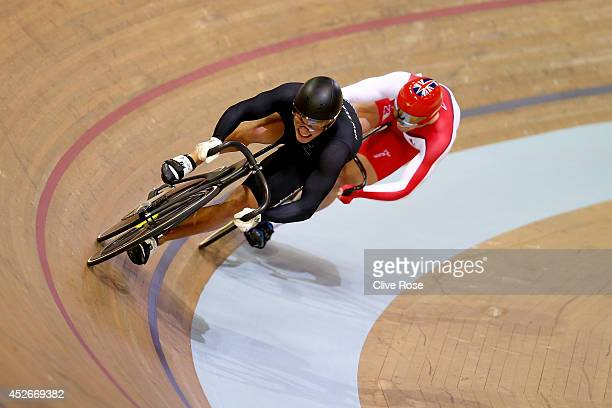 Sam Webster of New Zealand leads Jason Kenny of England around the final bend to victory in the Men's Sprint Final at the Sir Chris Hoy Velodrome...