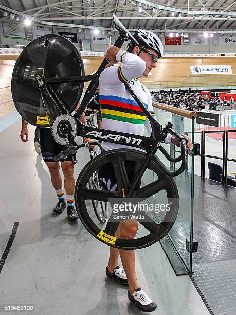 CAMBRIDGE WAIKATO APRIL Sam Webster of the Men's Sprint Team during the New Zealand Olympic Team Track Cycling Sprint Team Announcement at The...