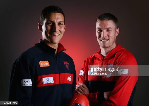 Sam Weideman and Tom McDonald of the Demons pose during a Melbourne Demons AFL media opportunity at AAMI Park on September 18 2018 in Melbourne...