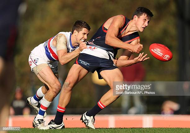 Sam Weideman of Casey Scorpions runs with the ball during the VFL Qualifying Final match between Casey and Footscray at Casey Fields on September 3,...