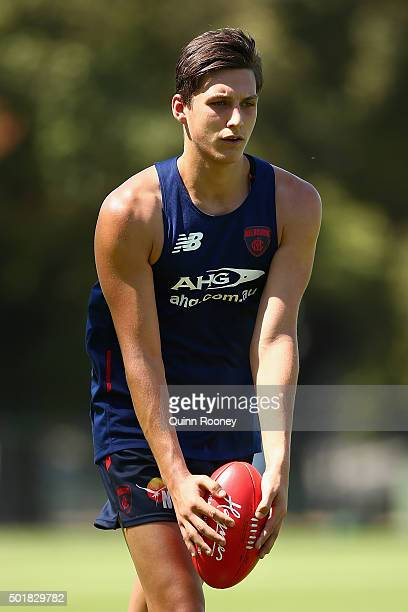 Sam Weideman of the Demons kicks for goal during a Melbourne Demons AFL preseason training session at Gosch's Paddock on December 18 2015 in...