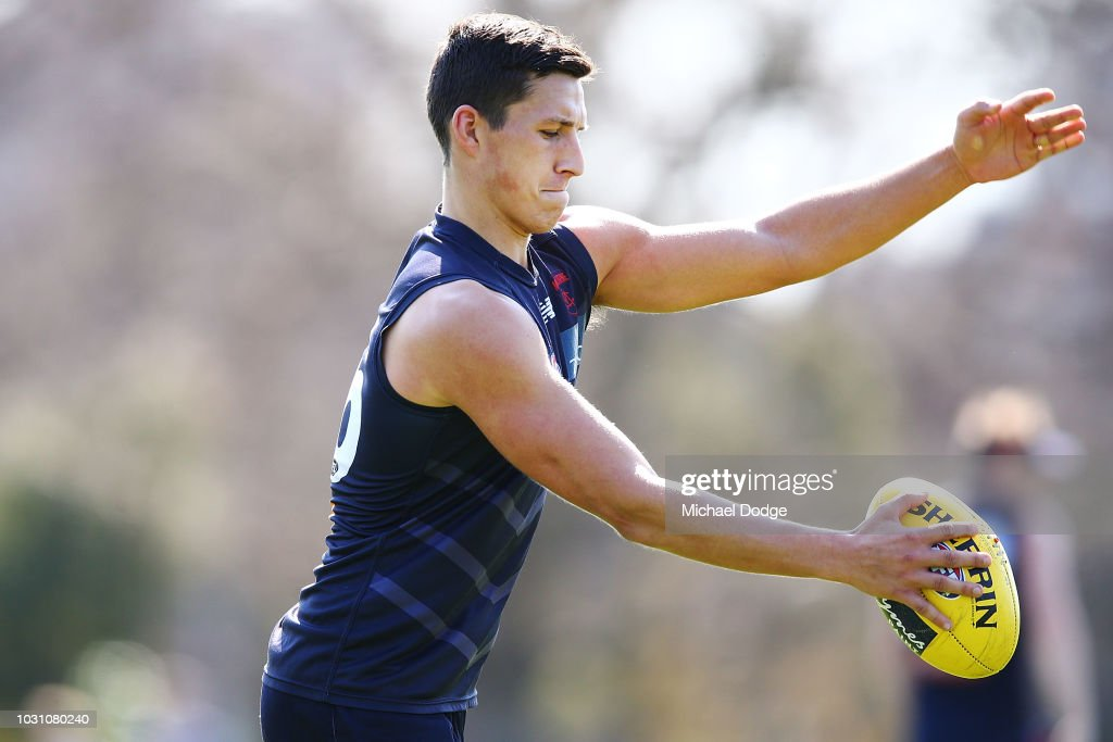Sam Weideman of the Demons kicks the ball during a Melbourne Demons AFL training session at Gosch's Paddock on September 11, 2018 in Melbourne, Australia.