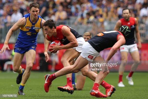 Sam Weideman of the Demons looks to pass the ball during the AFL Prelimary Final match between the West Coast Eagles and the Melbourne Demons on...