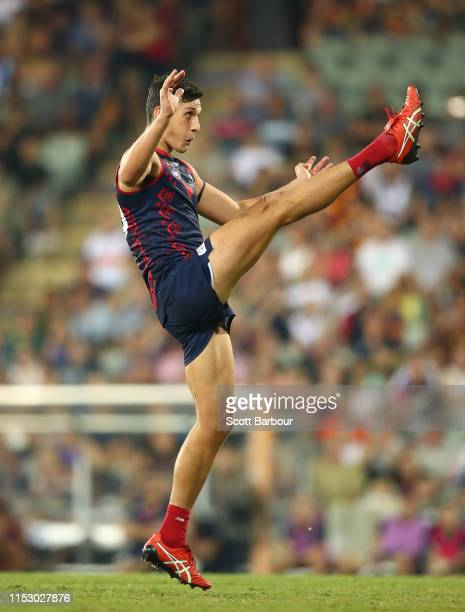 Sam Weideman of the Demons misses the match-winning shot at goal in the final minute of play during the round 11 AFL match between the Melbourne...