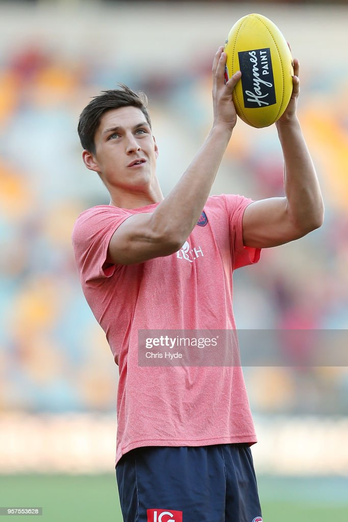 Sam Weideman of the Demons warms up before the round eight AFL match between the Gold Coast Suns and the Melbourne Demons at The Gabba on May 12, 2018 in Brisbane, Australia.