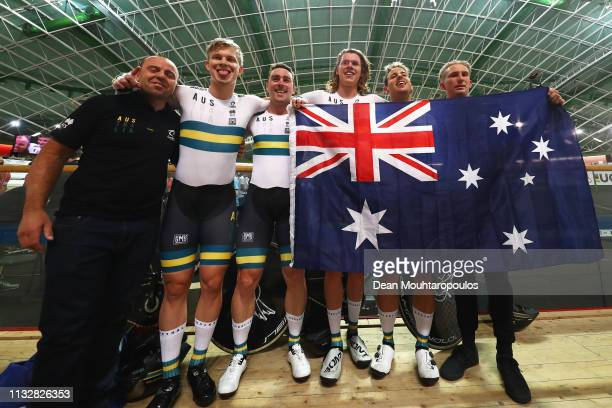Sam Welsford Kelland O'Brien Leigh Howard and Alexander Porter of Australia celebrate winning the gold medal in a world record time in the Men's Team...