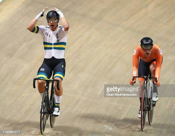 Sam Welsford of Australia celebrates winning the gold medal in the Men's scratch race final on day two of the UCI Track Cycling World Championships...