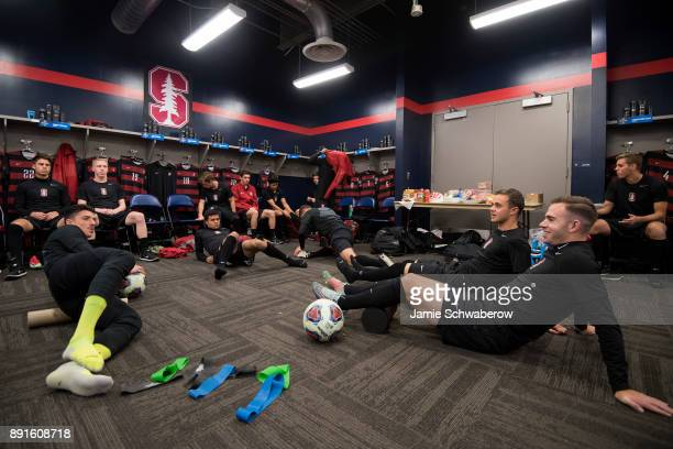 Sam Werner of Stanford University and his teammates get prepared in the locker room prior to the Division I Men's Soccer Championship held at Talen...