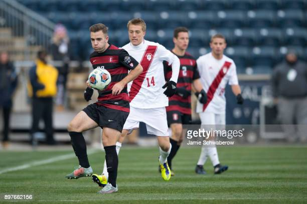 Sam Werner of Stanford University controls the ball against Indiana University during the Division I Men's Soccer Championship held at Talen Energy...
