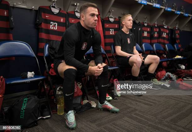 Sam Werner of Stanford University gets prepared in the locker room prior to the Division I Men's Soccer Championship held at Talen Energy Stadium on...