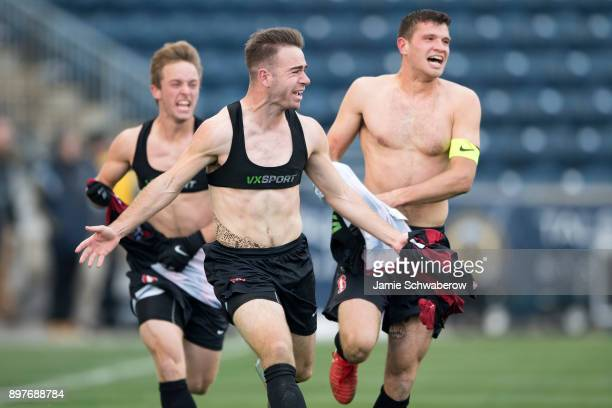 Sam Werner Tomas HiiliardArce and Charlie Wehan of Stanford University celebrate the winning goal against Indiana University during the Division I...