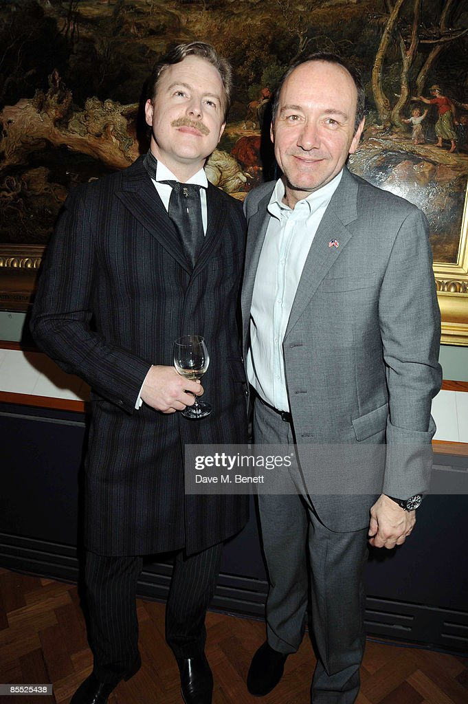 Sam West (L) and Kevin Spacey (R) attend the launch party for the opening of the new Theatre and Performance galleries at the Victoria & Albert Museum on March 16, 2009 in London, England.