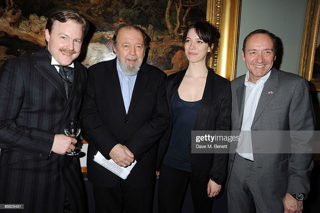 Sam West, Sir Peter Hall, Rebecca Hall and Kevin Spacey attend the launch party for the opening of the new Theatre and Performance galleries at the Victoria & Albert Museum on March 16, 2009 in London, England.
