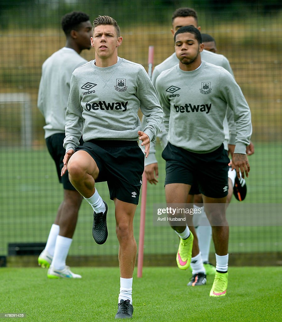 Sam Westley, son of Academy Director Terry, during the first West Ham United pre-season training session at Chadwell Heath on June 22, 2015 in London, England.