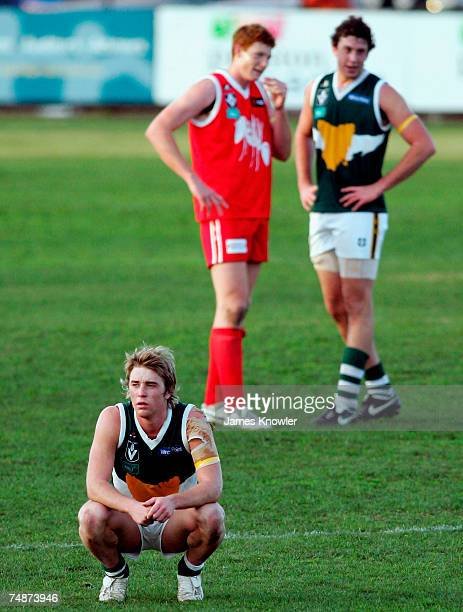 Sam Whish-Wilson of Tasmania looks dejected after losing the round 11 VFL match between the Northern Bullants and Tasmania at Preston City Oval June...