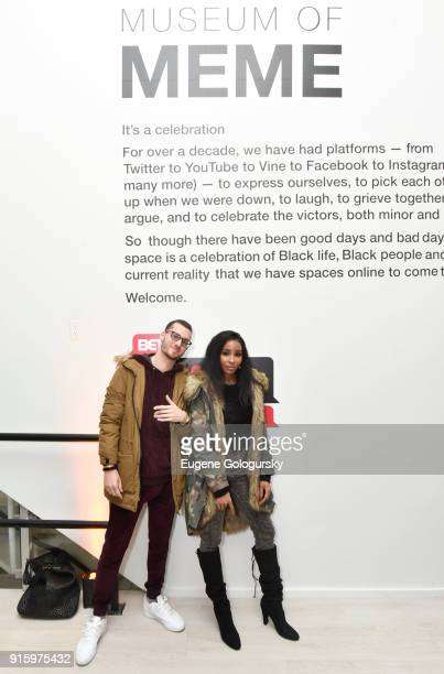Sam White and Necole Kane attend the BET NETWORKS Hosting of the Opening Night Reception For 'THE MUSEUM OF MEME' In Celebration Of 'THE BET SOCIAL...