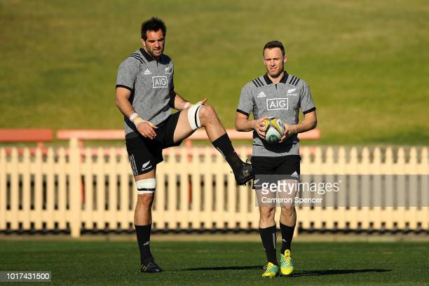 Sam Whitelock and Ben Smith of the All Blacks warm up during a New Zealand All Blacks training session at North Sydney Oval on August 16 2018 in...