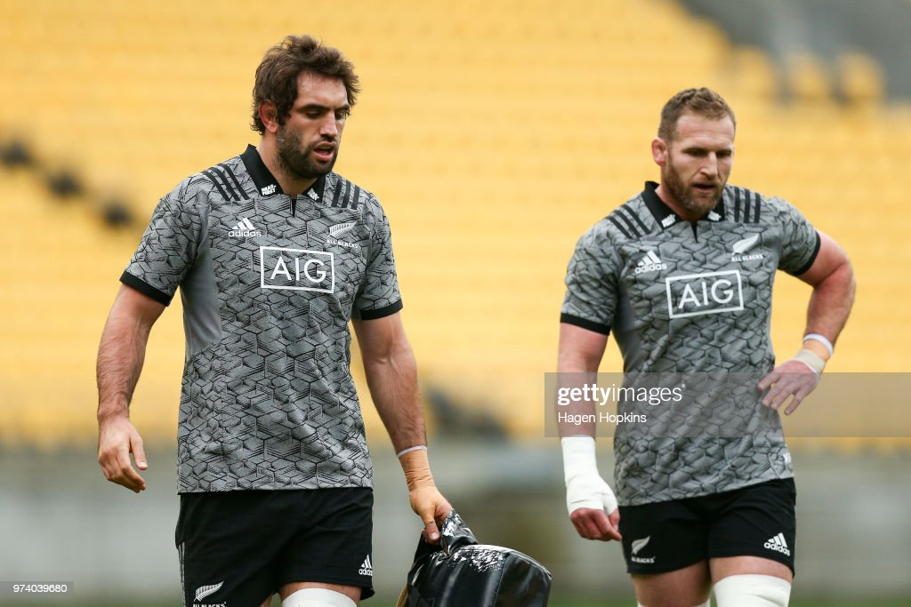 Sam Whitelock and Kieran Read look on during a New Zealand All Blacks training session at Westpac Stadium on June 14, 2018 in Wellington, New Zealand.