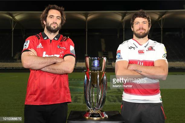 Sam Whitelock captain of the Crusaders and Warren Whiteley captain of the Lions during the Super Rugby Final media opportunity at AMI Stadium on...