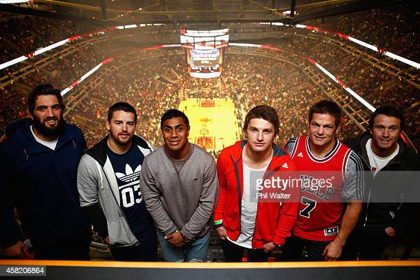 Sam Whitelock Dane Coles Malakai Fekitoa Beauden Barrett Richie McCaw and Ben Smith pose for a photo as they attend the Chicago Bulls v Cleveland...
