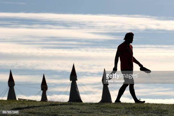 Sam Whitelock heads to training during a New Zealand All Blacks training session at Trusts Stadium on June 20 2017 in Auckland New Zealand