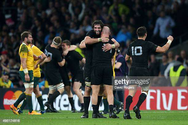 Sam Whitelock of New Zealand and Ben Franks of New Zealand celebrate victory during the 2015 Rugby World Cup Final match between New Zealand and...