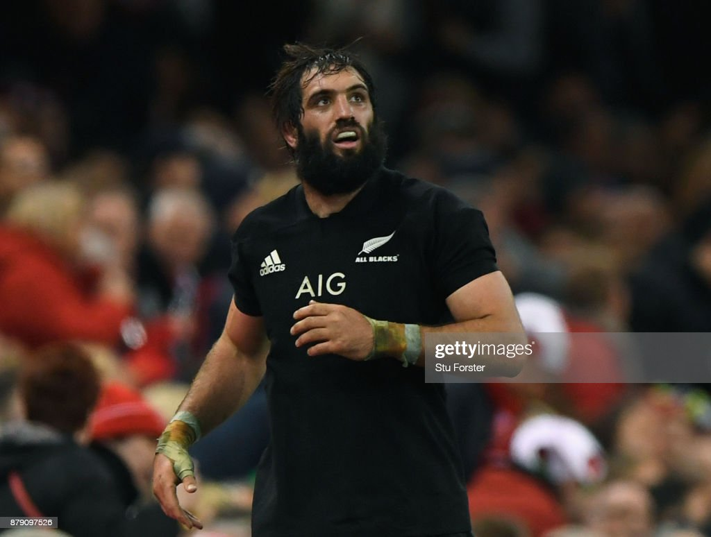 Sam Whitelock of New Zealand reacts to being sinbinned during the International match between Wales and New Zealand at Principality Stadium on November 25, 2017 in Cardiff, Wales.