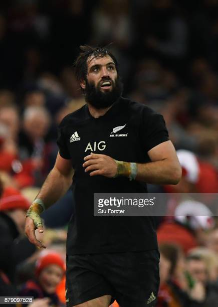 Sam Whitelock of New Zealand reacts to being sinbinned during the International match between Wales and New Zealand at Principality Stadium on...