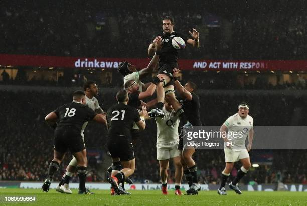 Sam Whitelock of New Zealand wins the lineout during the Quilter International match between England and New Zealand at Twickenham Stadium on...