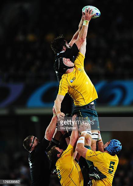 Sam Whitelock of the All Blacks and Dan Vickerman of the Wallabies go up for the line out during semi final two of the 2011 IRB Rugby World Cup...