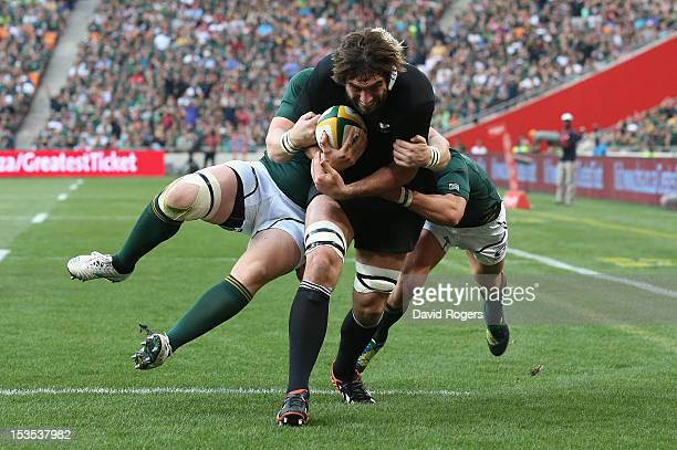 Sam Whitelock of the All Blacks charges upfield for a try during the Rugby Championship match between South Africa Springboks and the New Zealand All...