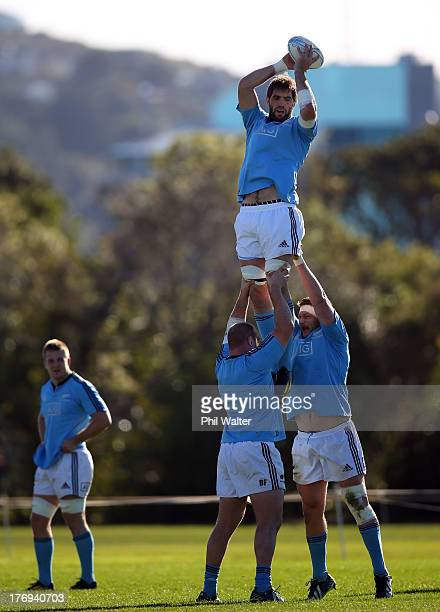Sam Whitelock of the All Blacks collects the ball in the lineout during a New Zealand All Blacks training session at the Lower Hutt Recreation Ground...