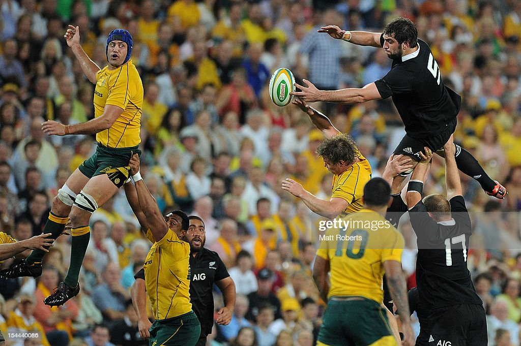 Sam Whitelock of the All Blacks competes for the line out during the Bledisloe Cup match between the Australian Wallabies and the New Zealand All Blacks at Suncorp Stadium on October 20, 2012 in Brisbane, Australia.