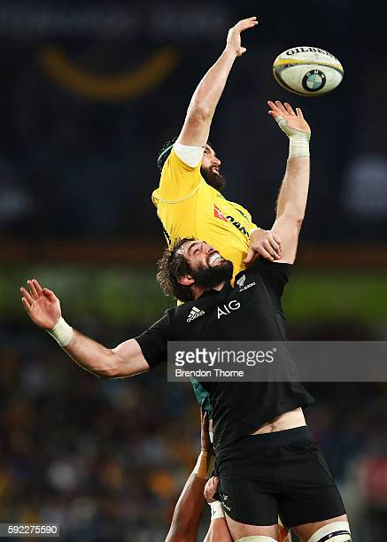 Sam Whitelock of the All Blacks competes in a line out with Scott Fardy of the Wallabies during the Bledisloe Cup Rugby Championship match between...