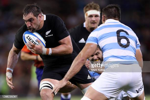 Sam Whitelock of the All Blacks in action during the 2020 Tri-Nations match between the Argentina Pumas and the New Zealand All Blacks at McDonald...