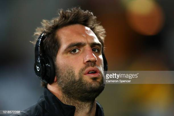 Sam Whitelock of the All Blacks inspects the field prior to The Rugby Championship Bledisloe Cup match between the Australian Wallabies and the New...