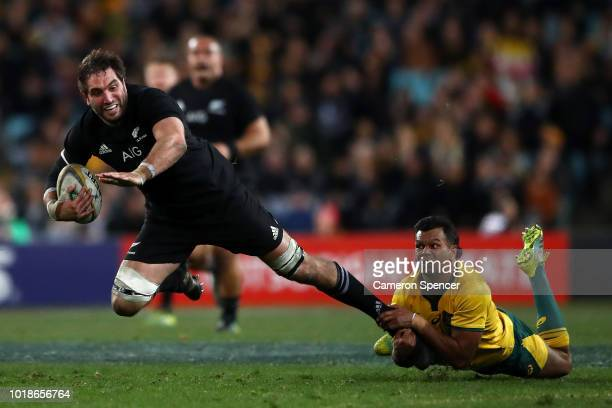 Sam Whitelock of the All Blacks is tackled during The Rugby Championship Bledisloe Cup match between the Australian Wallabies and the New Zealand All...