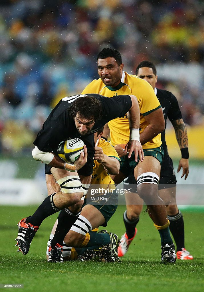 Sam Whitelock of the All Blacks is tackled during The Rugby Championship match between the Australian Wallabies and the New Zealand All Blacks at ANZ Stadium on August 16, 2014 in Sydney, Australia.