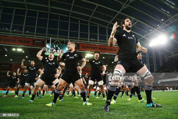 Sam Whitelock of the All Blacks leads the haka prior to the International Test match between the New Zealand All Blacks and France at Forsyth Barr...