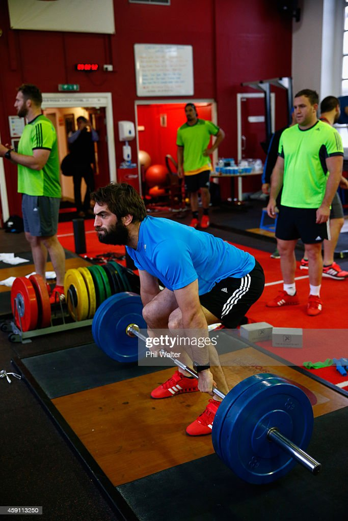 Sam Whitelock of the All Blacks lifts weights during a New Zealand All Blacks Gym session at the Cardiff University Strength and Conditioning Centre on November 17, 2014 in Cardiff, Wales.