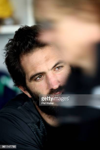 Sam Whitelock of the All Blacks looks on during a New Zealand All Blacks at Auckland Blues HQ on May 22 2018 in Auckland New Zealand