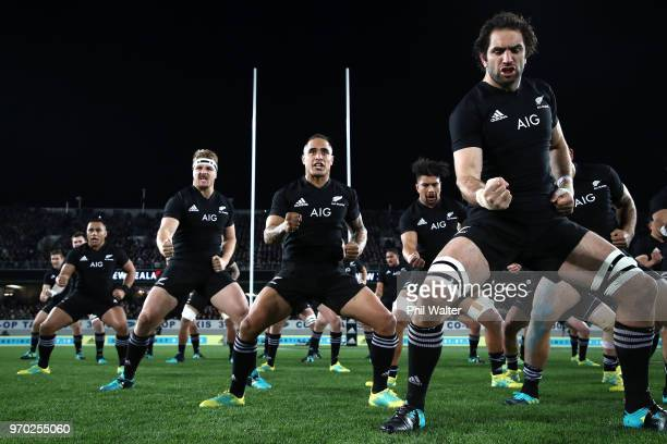 Sam Whitelock of the All Blacks performs the Haka during the International Test match between the New Zealand All Blacks and France at Eden Park on...