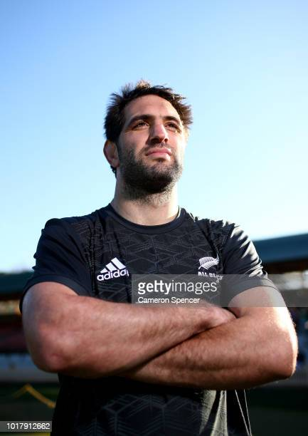 Sam Whitelock of the All Blacks poses for a portrait during a New Zealand All Blacks captain's run at North Sydney Oval on August 17 2018 in Sydney...