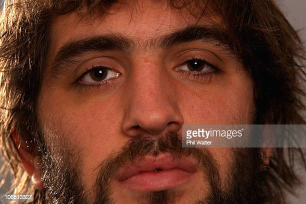 Sam Whitelock of the All Blacks poses for a portrait during a New Zealand All Blacks press conference at the Royal Garden Hotel in Kensington on...
