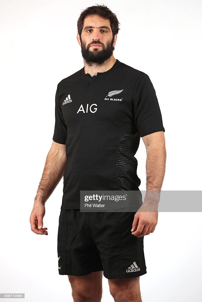 Sam Whitelock of the All Blacks poses for a portrait during a New Zealand All Black portrait session on May 29, 2016 in Auckland, New Zealand.