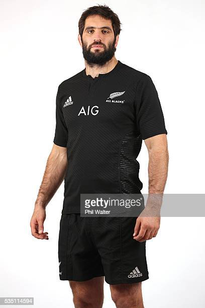 Sam Whitelock of the All Blacks poses for a portrait during a New Zealand All Black portrait session on May 29 2016 in Auckland New Zealand
