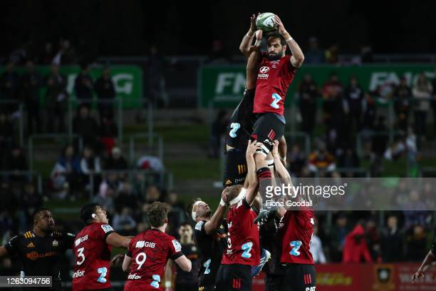 Sam Whitelock of the Crusaders competes for lineout ball during the round eight Super Rugby Aotearoa match between the Chiefs and Crusaders at...