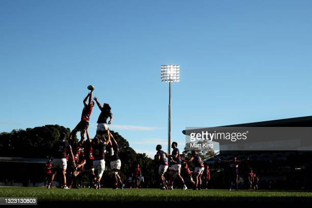 Sam Whitelock of the Crusaders jumps at the lineout during the round five Super Rugby Trans-Tasman match between the Melbourne Rebels and the...