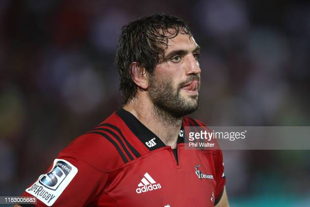 Sam Whitelock of the Crusaders looks dejected during the round 16 Super Rugby match between the Chiefs and the Crusaders at the ANZ National Stadium...